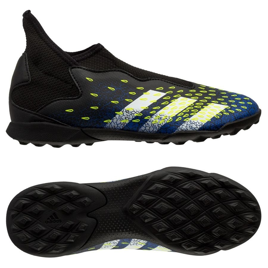 adidas Predator Freak .3 Laceless TF Superlative - Sort/Hvid/Gul Børn