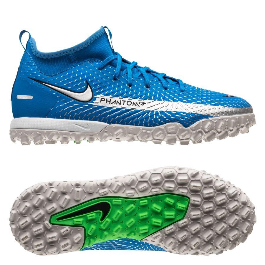 Nike Phantom GT Academy DF TF Spectrum - Blå/Sølv/Grøn Børn