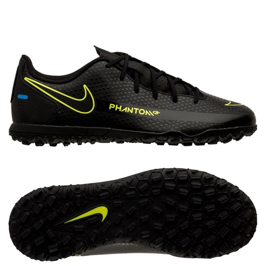 Nike Phantom GT Club TF Black x Prism - Sort/Gul/Blå Børn