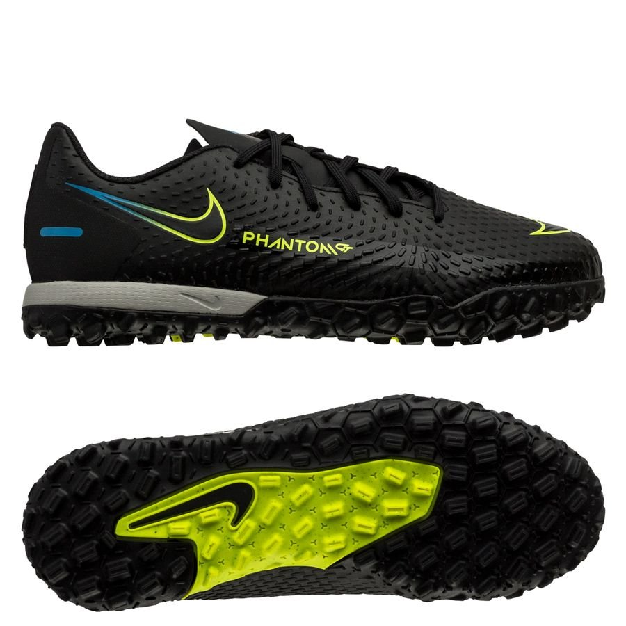 Nike Phantom GT Academy TF Black x Prism - Sort/Gul/Blå Børn