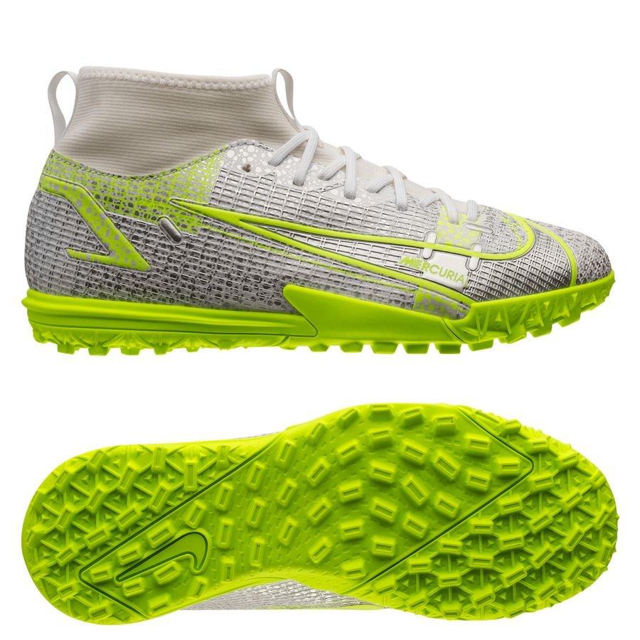 Nike Mercurial Superfly 8 Academy TF Silver Safari - Hvid/Sort/Sølv/Neon Børn