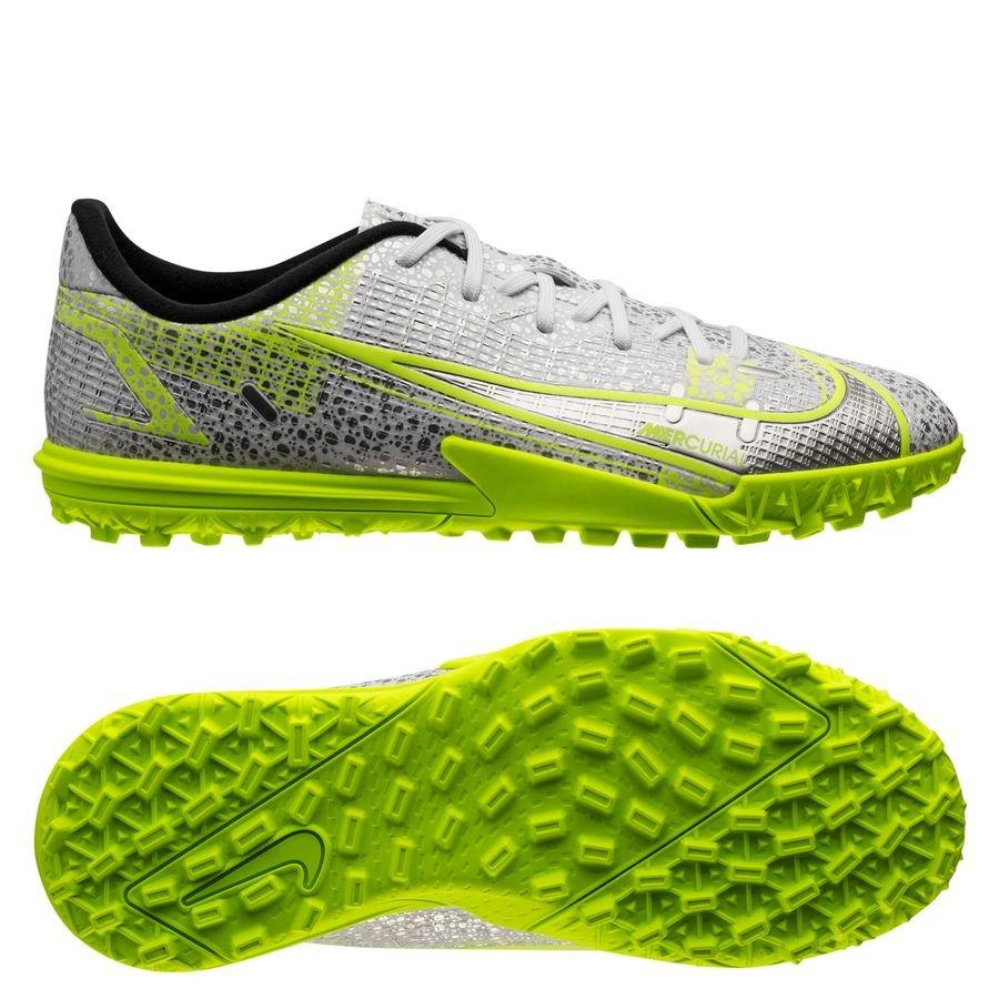 Nike Mercurial Vapor 14 Academy TF Silver Safari - Hvid/Sort/Sølv/Neon Børn