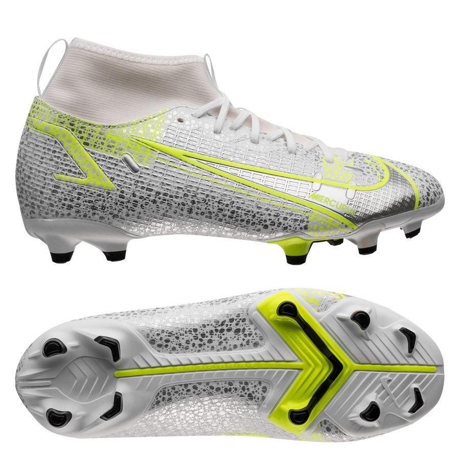 Nike Mercurial Superfly 8 Academy MG Silver Safari - Hvid/Sort/Sølv/Neon Børn