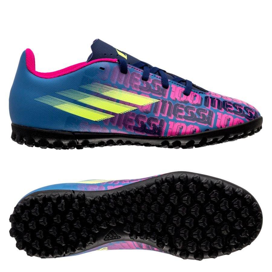 adidas X Speedflow Messi .4 TF Unparalleled - Blå/Pink/Gul Børn