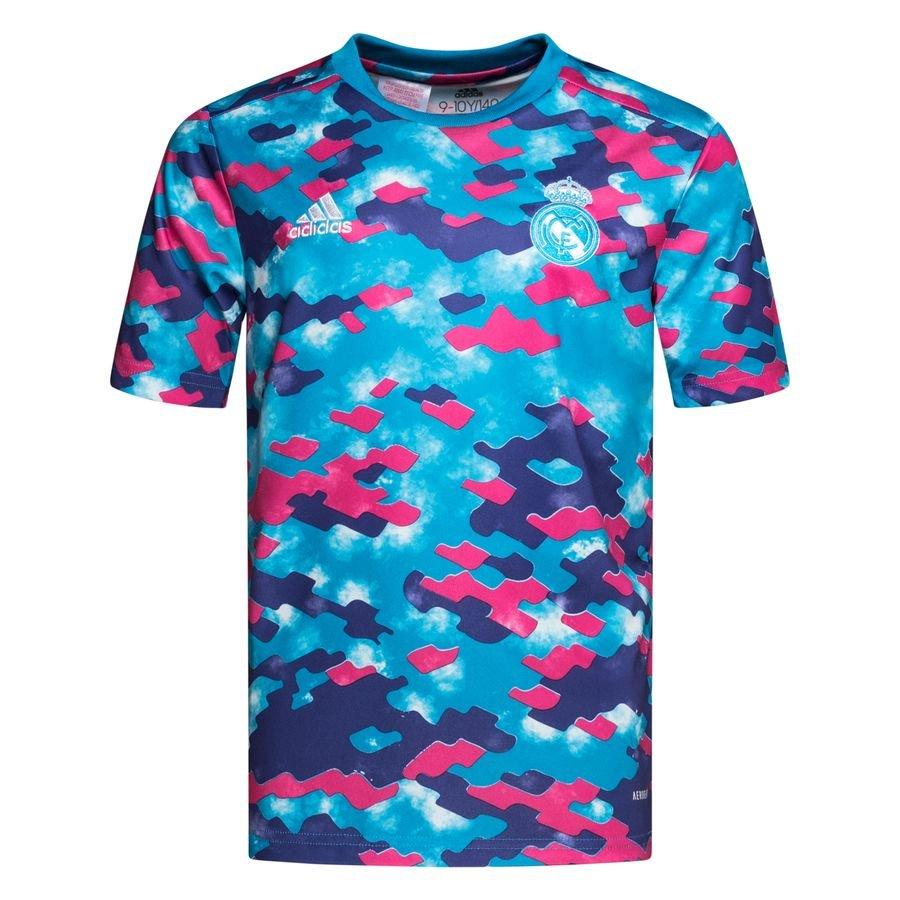 adidas Real Madrid Trænings T-Shirt Pre Match - Blå/Pink/Lilla Børn