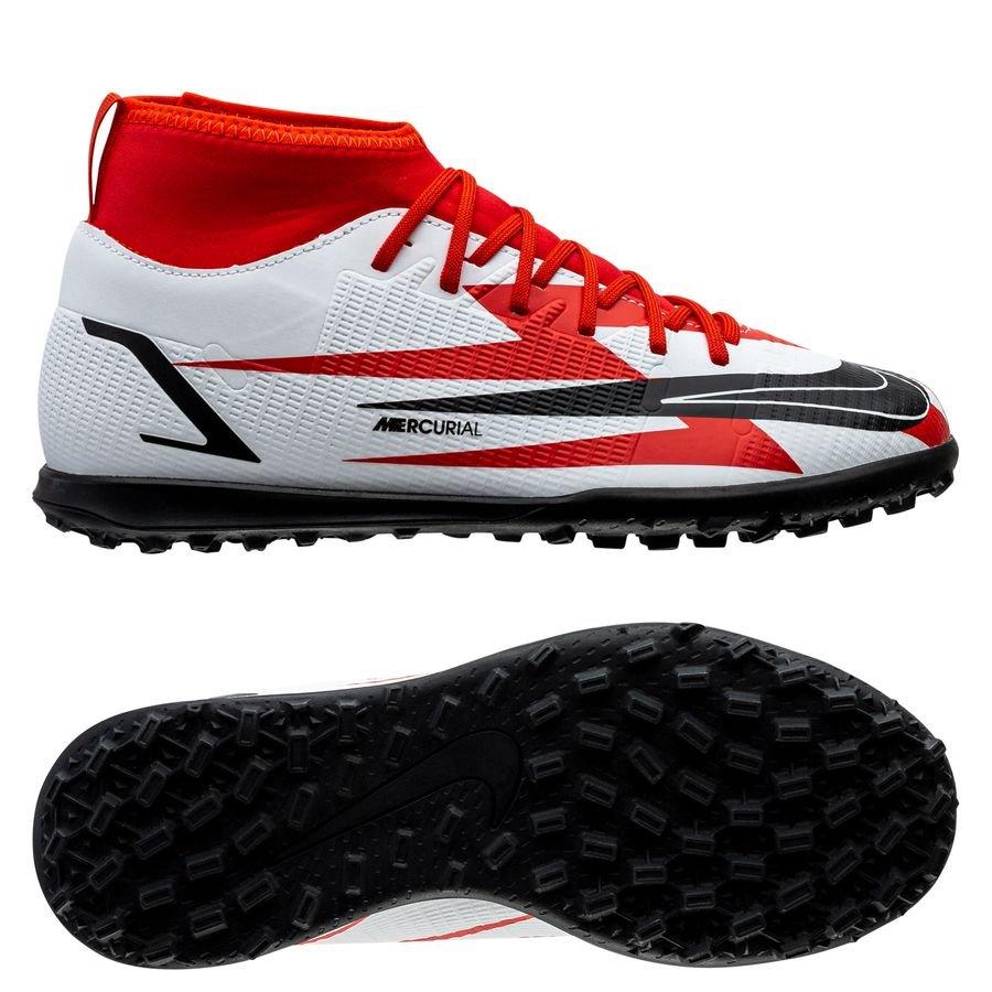 Nike Mercurial Superfly 8 Club TF CR7 Spark Positivity - Rød/Sort/Hvid/Orange Børn