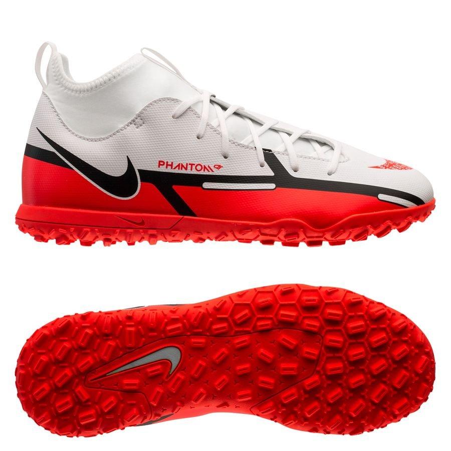 Nike Phantom GT 2 Club DF TF Motivation - Hvid/Rød/Neon Børn