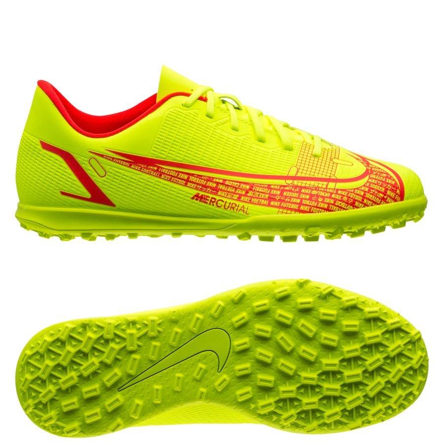 Nike Mercurial Vapor 14 Club TF Motivation - Neon/Rød Børn