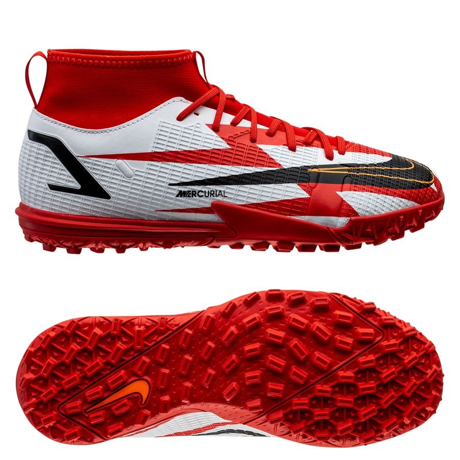Nike Mercurial Superfly 8 Academy TF CR7 Spark Positivity - Rød/Sort/Hvid/Orange Børn