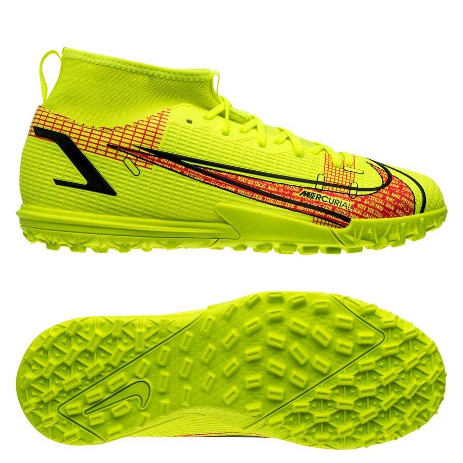 Nike Mercurial Superfly 8 Academy TF Motivation - Neon/Sort/Rød Børn