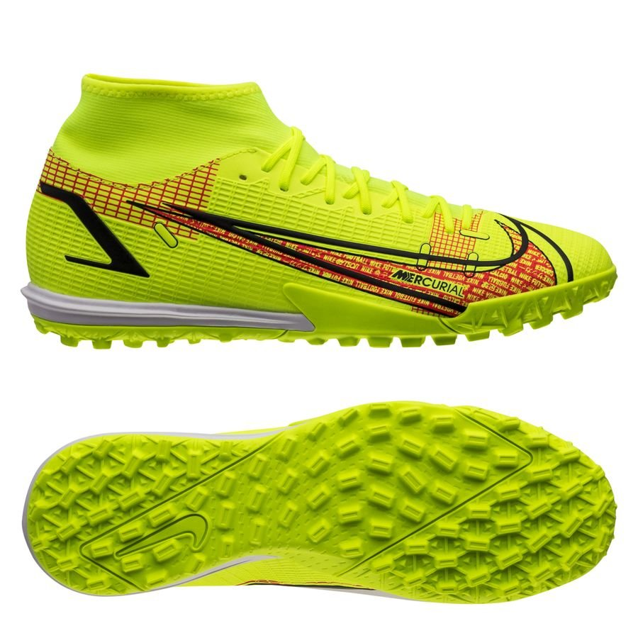 Nike Mercurial Superfly 8 Academy TF Motivation - Neon/Sort/Rød