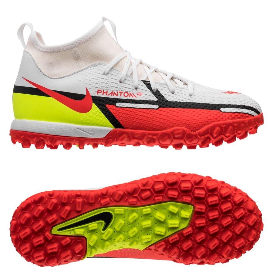 Nike Phantom GT 2 Academy DF TF Motivation - Hvid/Rød/Neon Børn