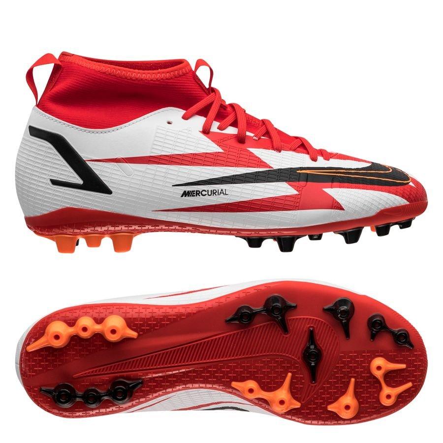 Nike Mercurial Superfly 8 Academy AG CR7 Spark Positivity - Rød/Sort/Hvid/Orange Børn