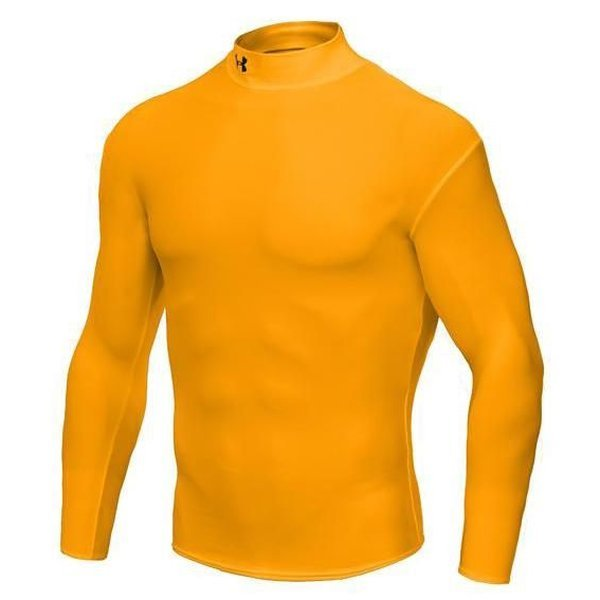 Under armour coldgear compression mock l s yellow www for Yellow under armour long sleeve shirt