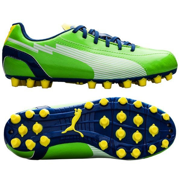 Puma evoSPEED 5 AG Green White Blue Yellow Kids  4dc0bef46e155